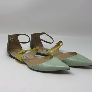 Jimmy Choo seafoam green, yellow and taupe flats
